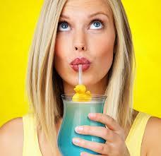 blond drinking thru straw